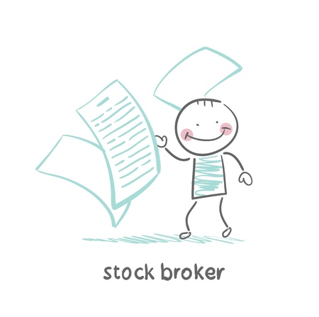 stock broker with documents Çizim
