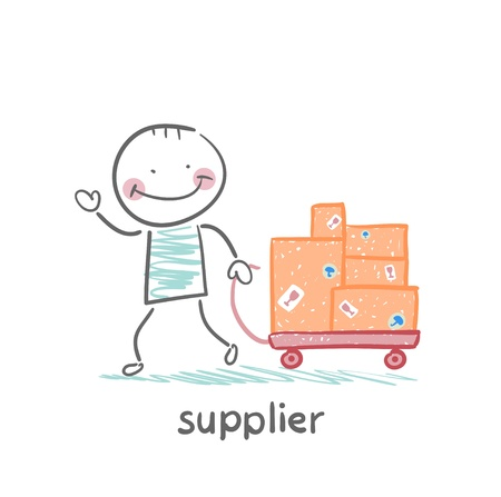 supplier: supplier walks with a cart of goods Illustration