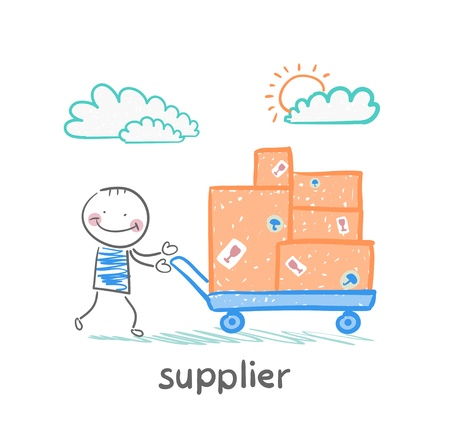supplier walks with a cart of goods Illustration