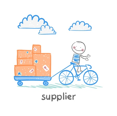 supplier supplier rides a bike with a cart of goods Vector
