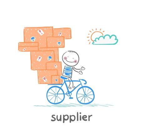 leverancier leverancier rijdt op een fiets met de goederen Vector Illustratie