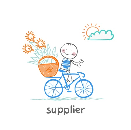supplier supplier carries a bike basket with goods