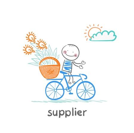 supplier: supplier supplier carries a bike basket with goods