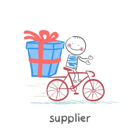 supplier supplier rides a bike with the goods Stock Vector - 21984391