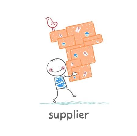 supplier: supplier carries goods Illustration