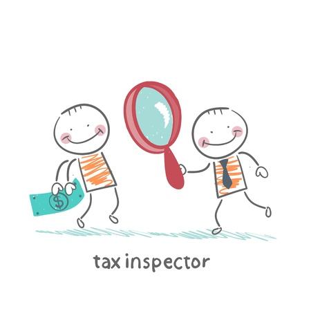 kontrolleur: Steuer-Inspektor mit Lupe, Blick auf die Person Geld