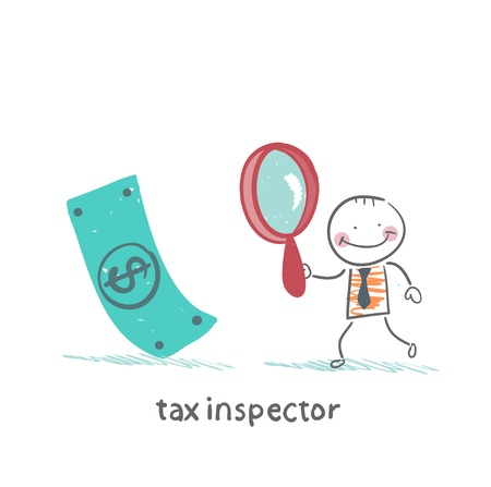 inspector: tax inspector with magnifying glass looking for money