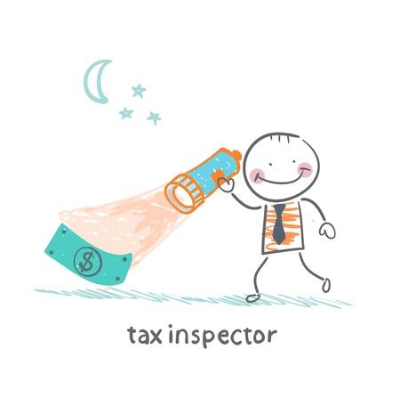 kontrolleur: Steuer-Inspektor mit einer Laterne auf der Suche nach Geld