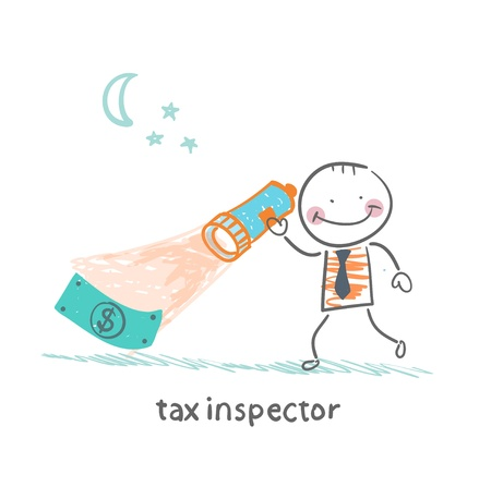 tax inspector with a lantern looking for money Vector