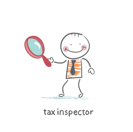 tax attorney: tax inspector with magnifying glass