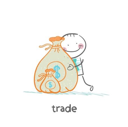 asian business meeting: trade hugging a bag of money