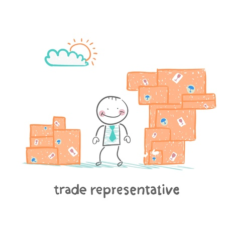 trade representative is standing with boxes of goods