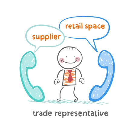 trade representative   talking on the phone with a supplier and a point of sale Vector