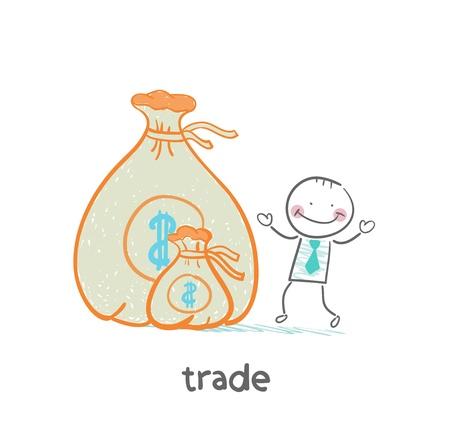 business meeting asian: debout commercial pr�s de l'argent Illustration