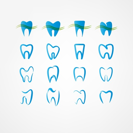 歯のアイコンを設定  イラスト・ベクター素材