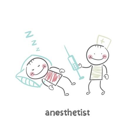 operating room: anestesi�logo con jeringa junto a un paciente dormido Vectores