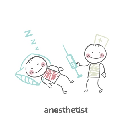 iv drip: anesthesiologist with syringe next to a sleeping patient