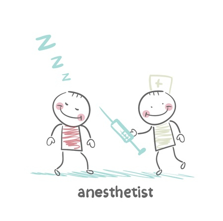 anesthesia: anesthesiologist with syringe next to a sleeping patient