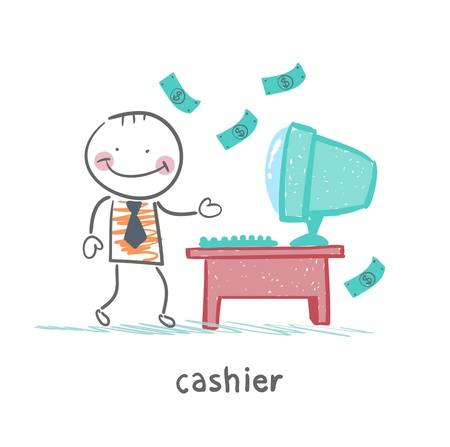 cashier at the workplace Illustration