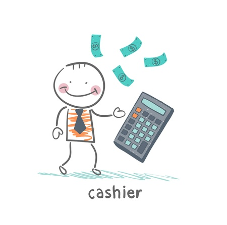cashier counts money on calculator
