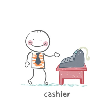 cashier: cashier at the workplace Illustration