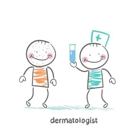 dermatologist: dermatologist giving medicine patient