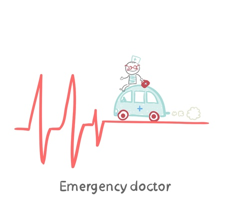 Emergency doctor traveling by car on ECG Illustration