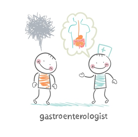 gastroenterologist tells the patient about the disease Stock Vector - 22138628