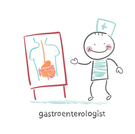 gastroenterologist shows the presentation of the disease