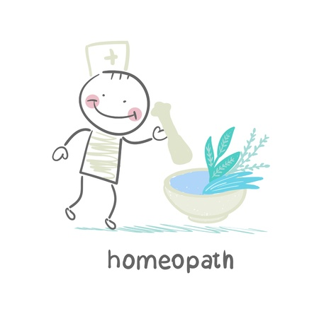 homeopath medicine prepared from plants Illustration
