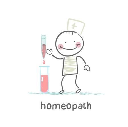 homeopath medicine prepared in test tubes