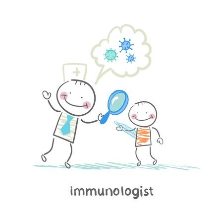 Immunologiste regardant à travers une loupe sur les bactéries du patient Banque d'images - 22139591