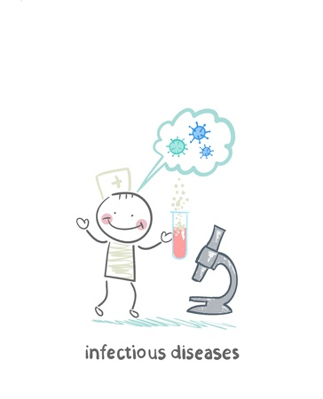 infectious: infectious diseases specialist is standing next to a microscope and thinks of infection Illustration