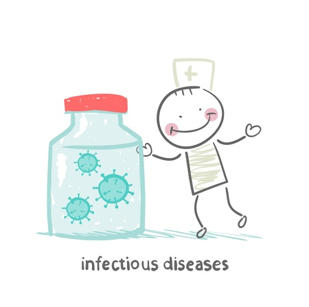 infectious: infectious diseases specialist is standing next to a can of infection