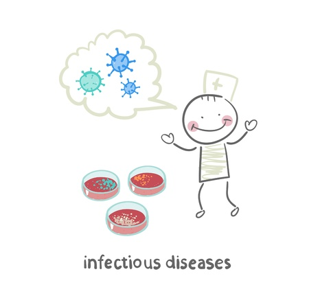 infectious: infectious diseases suggests infection near the test tubes Illustration