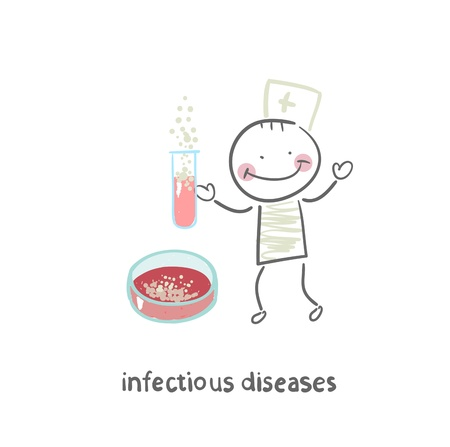 infectious: infectious diseases specialist working with test tubes in which the infection Illustration