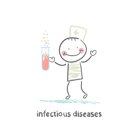 infection: infectious diseases specialist working with test tubes in which the infection Illustration