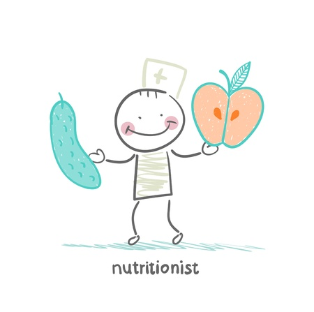 nutritionist: nutritionist holding cucumber and apple