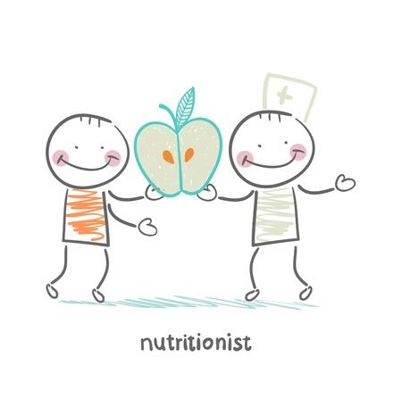 nutritionist gives the patient an apple Illusztráció