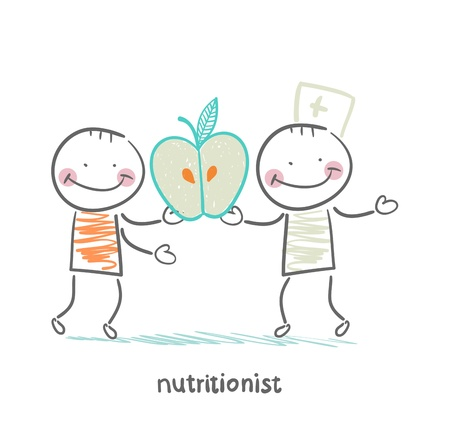 nutritionist gives the patient an apple Stock Illustratie