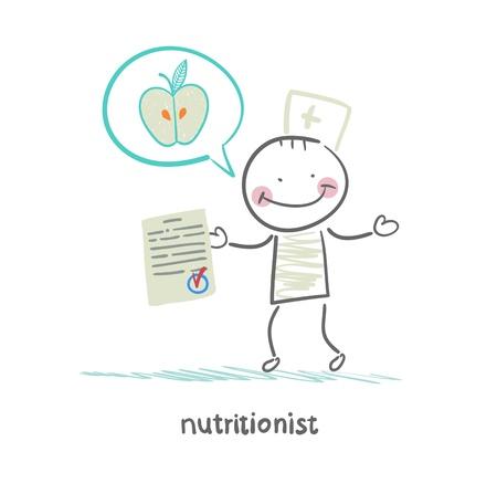 speaks: nutritionist shows the document speaks of healthy food Illustration