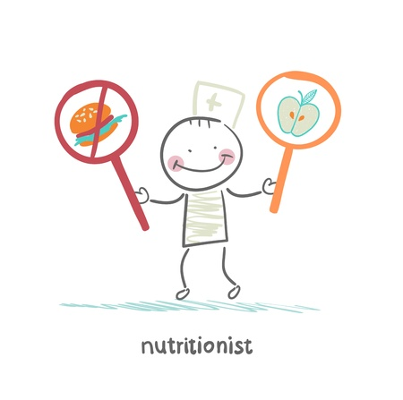 promotes: nutritionist  promotes healthy food Illustration