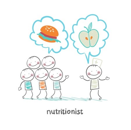 nutritionist: nutritionist  promotes healthy food Illustration