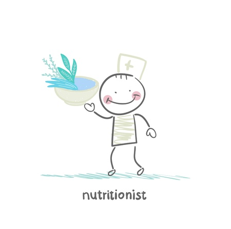 nutritionist holding a bowl of healthy food