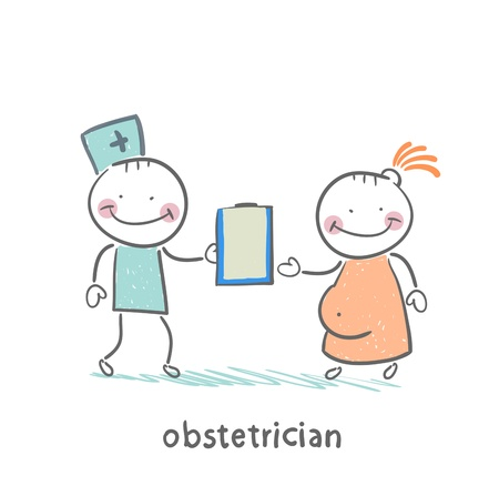 obstetrician: obstetrician with a patient Illustration