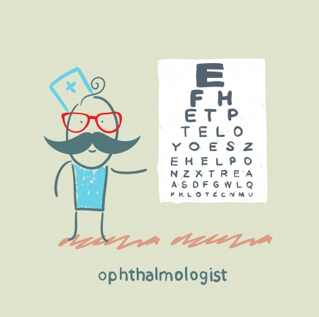 ophthalmologist near the table with the letters