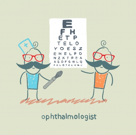 ophthalmologist checks sight of the patient with the test Illustration