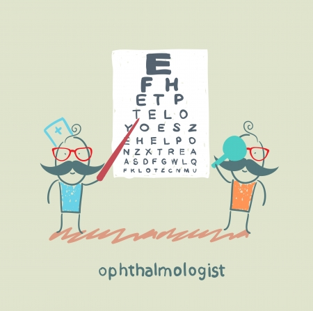 eye exams: ophthalmologist checks sight of the patient with the test Illustration