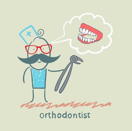 hygienist: orthodontist with a tool for thinking about pulling out a tooth jaw Illustration