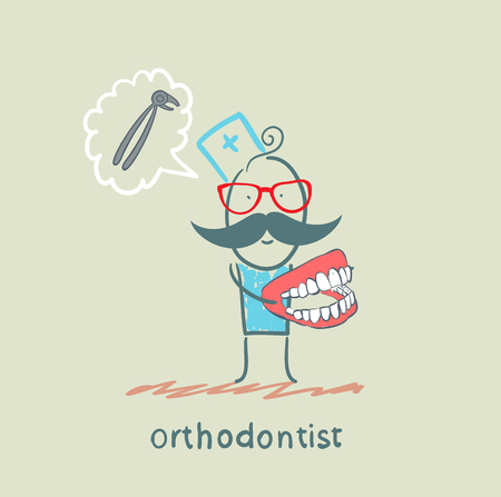 hygienist: orthodontist with the jaw in the hands of thinking about the tool for pulling teeth Illustration